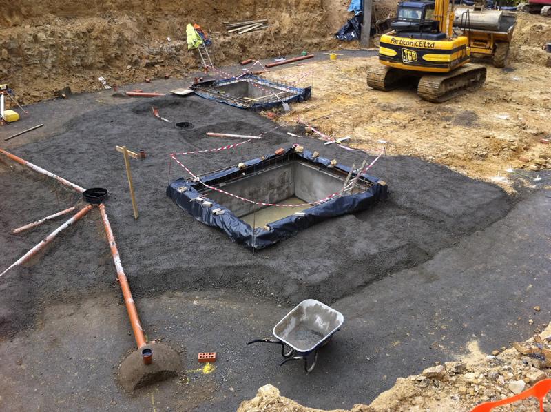 Reinforced concrete retaining wall Hazeldene House Care